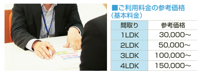 ■ご利用料金の参考価格 (基本料金)間取り参考価格 1LDK30,000~ 2LDK 50,000~3LDK100,000~4LDK150,000~